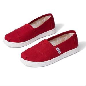 TOMS youth red shoes